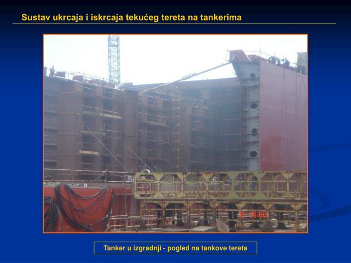 Tanker u izgradnji - pogled na tankove tereta