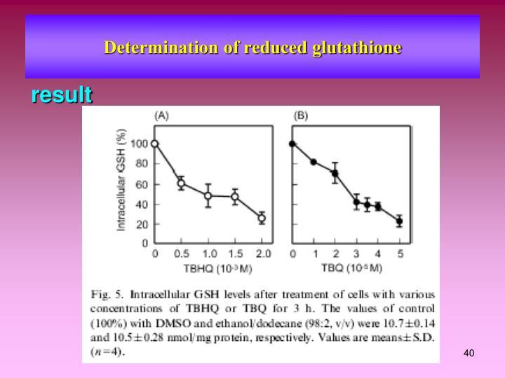 Determination of reduced glutathione