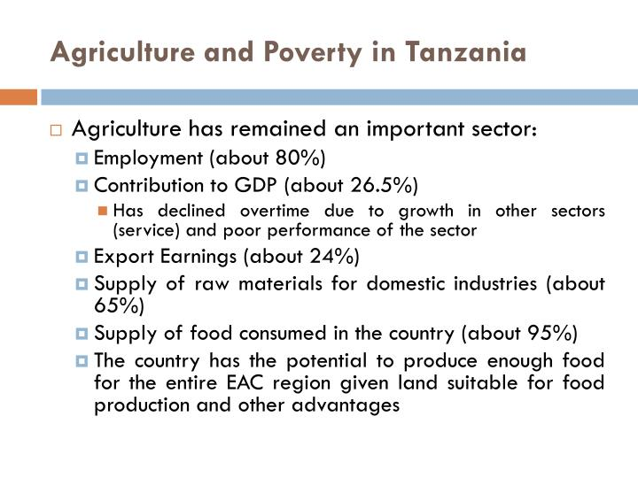 Agriculture and Poverty in Tanzania