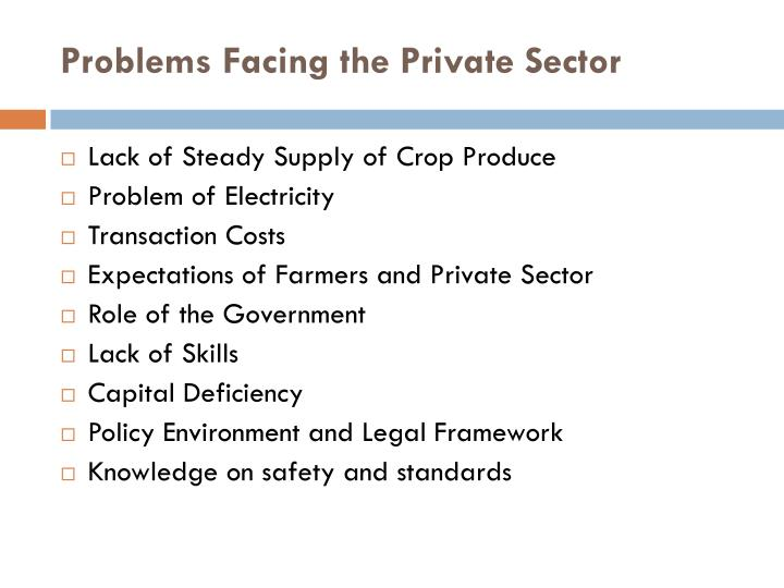 Problems Facing the Private Sector