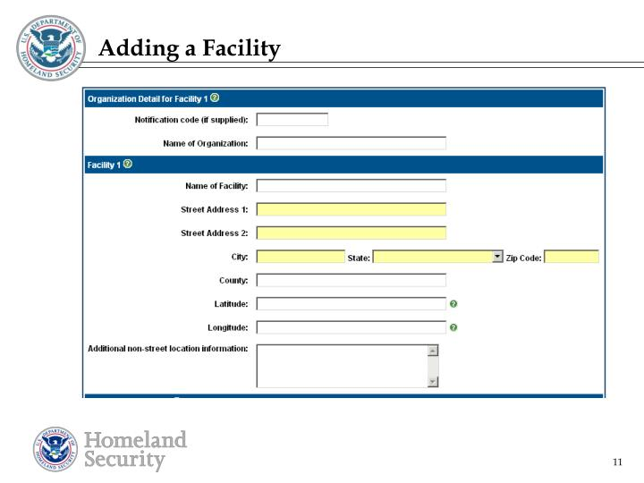 Adding a Facility