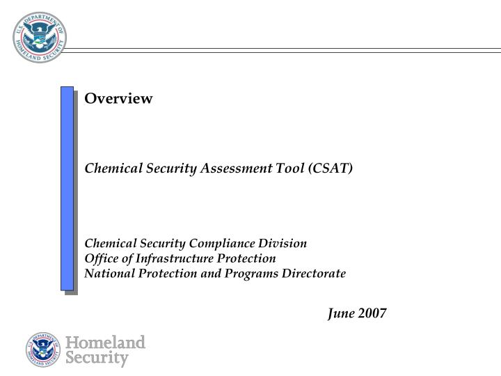 Chemical security assessment tool csat