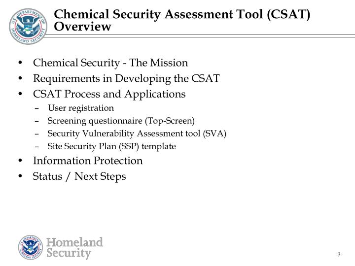 Chemical Security Assessment Tool (CSAT) Overview