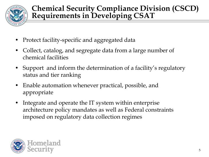 Chemical Security Compliance Division (CSCD) Requirements in Developing CSAT