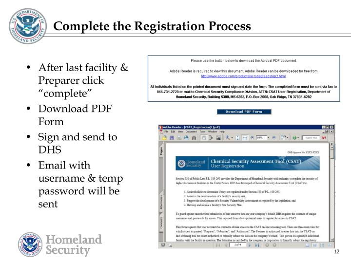 Complete the Registration Process