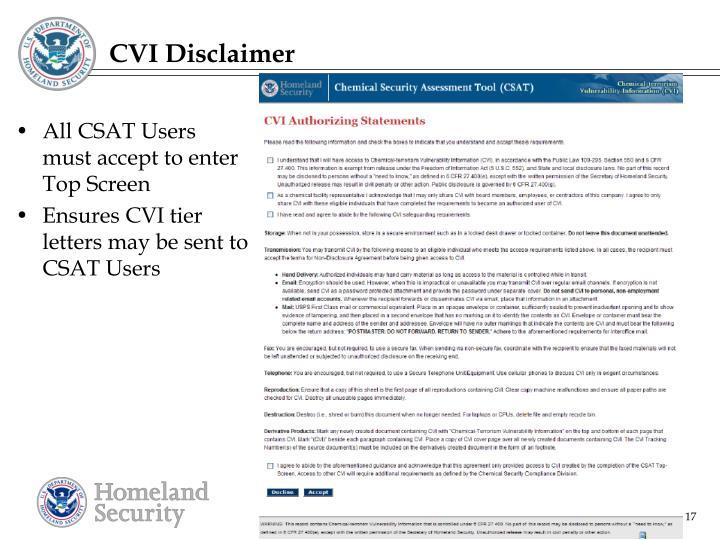 CVI Disclaimer