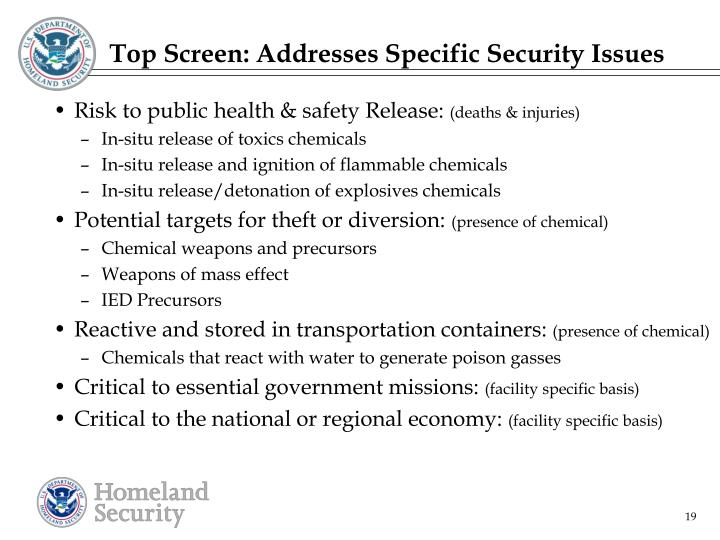 Top Screen: Addresses Specific Security Issues