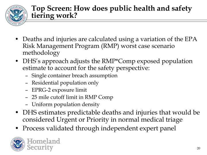 Top Screen: How does public health and safety tiering work?
