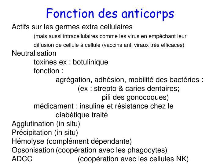Fonction des anticorps