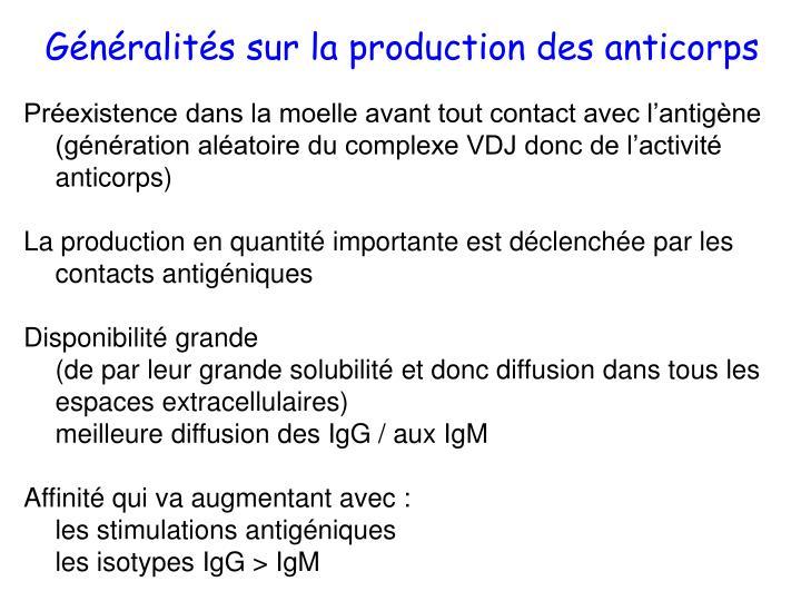 Généralités sur la production des anticorps