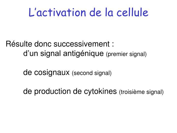 L'activation de la cellule