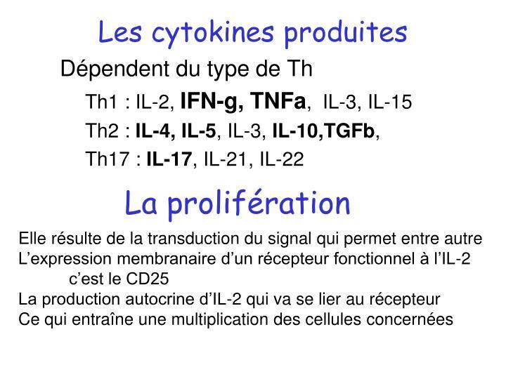 Les cytokines produites