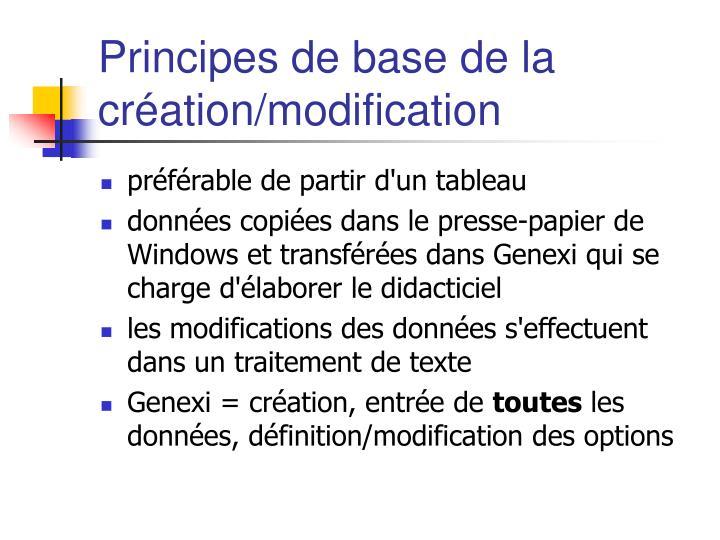 Principes de base de la création/modification
