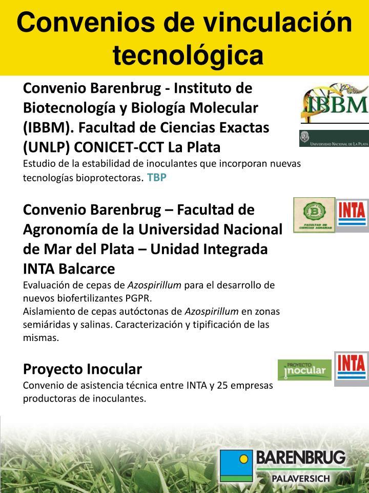 Convenio Barenbrug - Instituto de Biotecnología y Biología Molecular (IBBM). Facultad de Ciencias Exactas (UNLP) CONICET-CCT La Plata