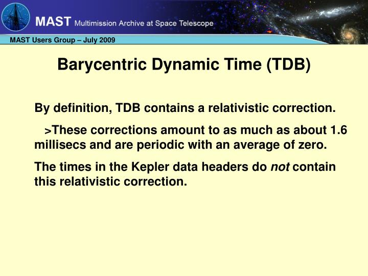 Barycentric Dynamic Time (TDB)