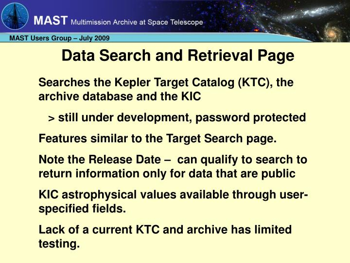 Data Search and Retrieval Page
