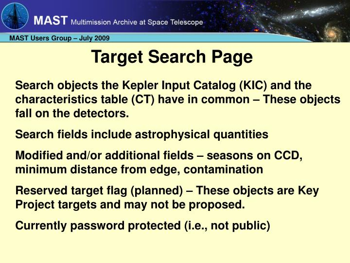 Target Search Page