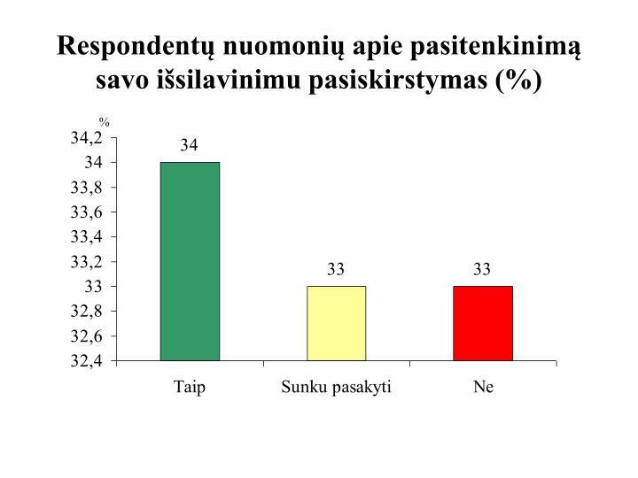 Respondentų nuomonių apie pasitenkinimą savo išsilavinimu pasiskirstymas (%)