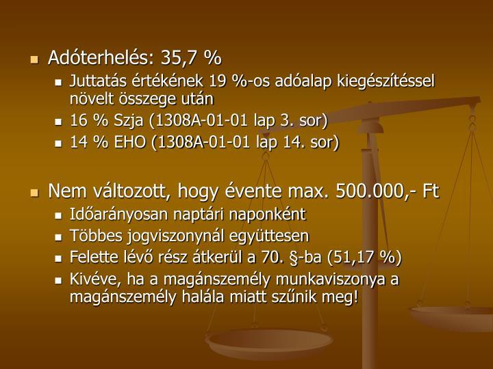 Adóterhelés: 35,7 %