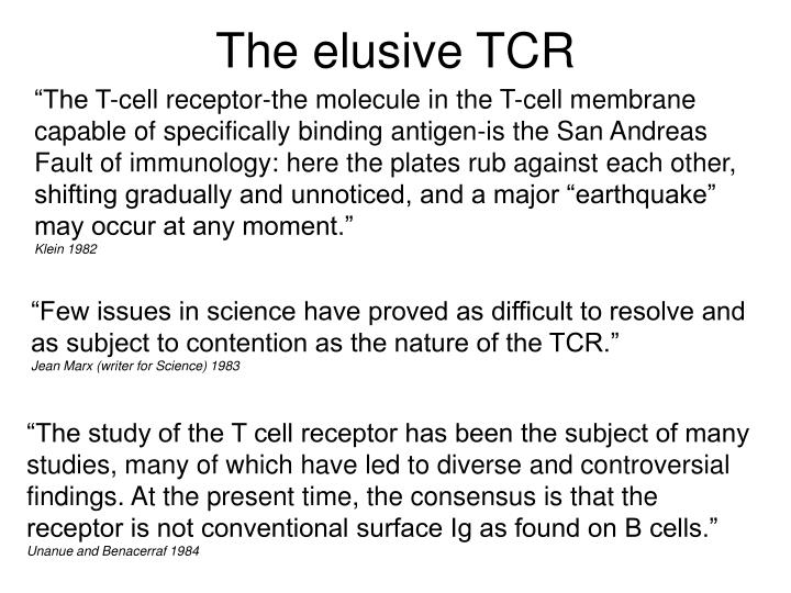 The elusive tcr