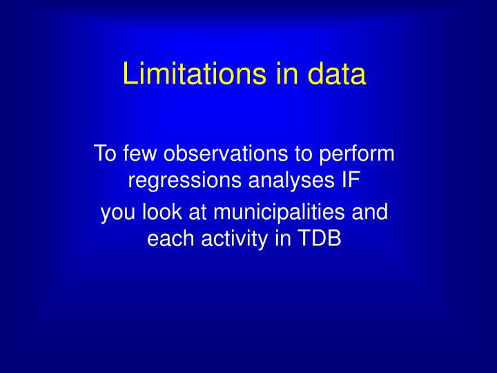 Limitations in data