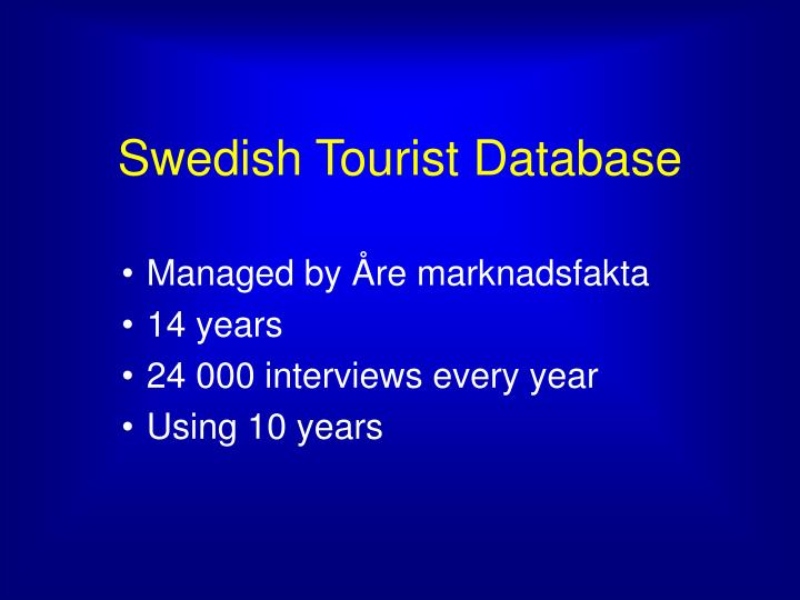 Swedish Tourist Database