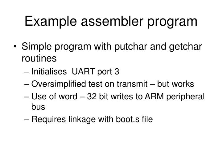 Example assembler program