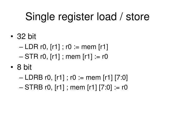 Single register load / store