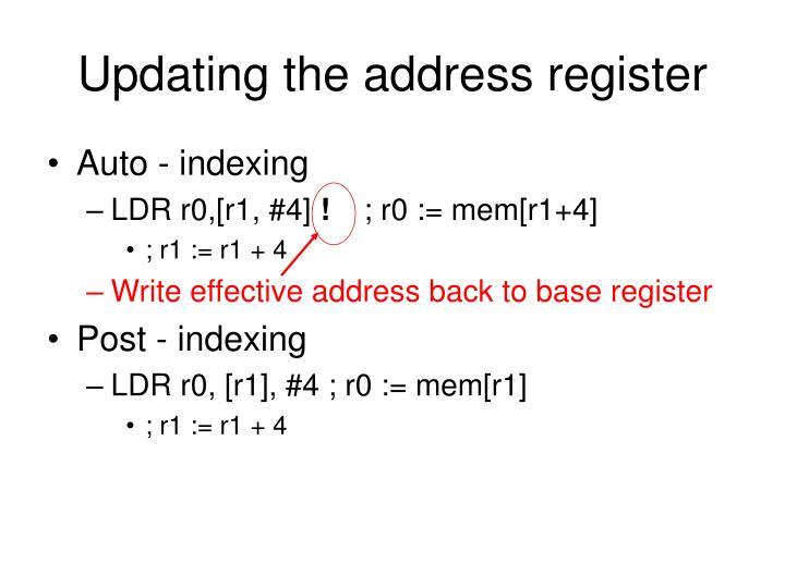Updating the address register