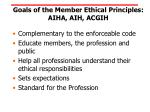 goals of the member ethical principles aiha aih acgih