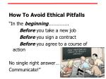 how to avoid ethical pitfalls