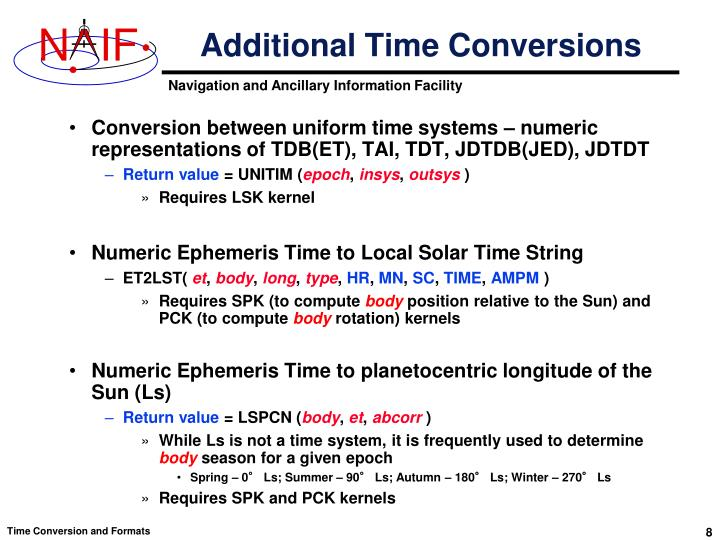 Additional Time Conversions