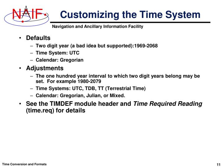 Customizing the Time System