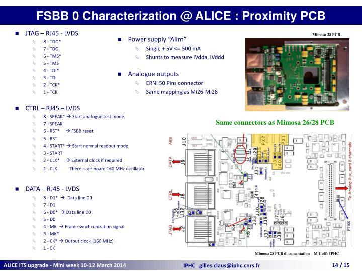 FSBB 0 Characterization @ ALICE : Proximity PCB