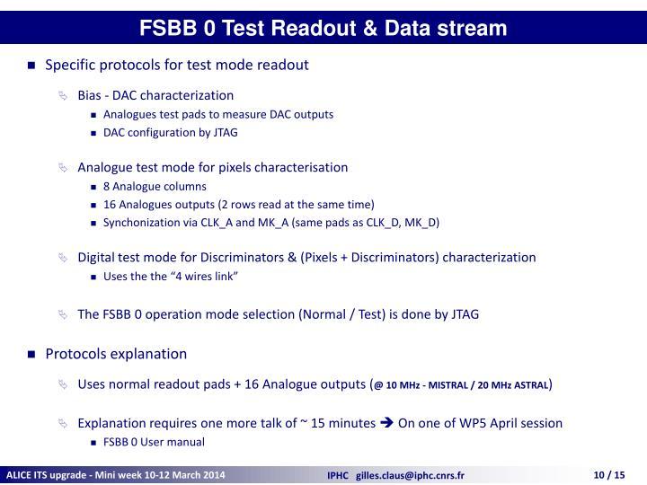 FSBB 0 Test Readout & Data stream