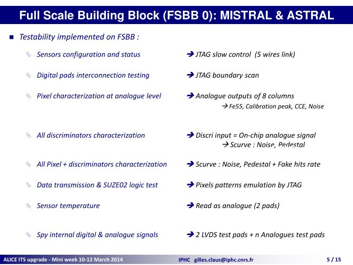 Full Scale Building Block (FSBB 0): MISTRAL & ASTRAL