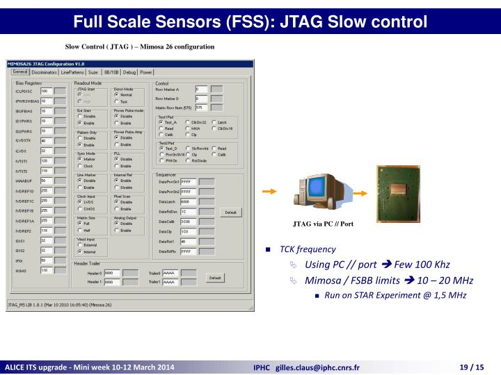 Full Scale Sensors (FSS): JTAG Slow control
