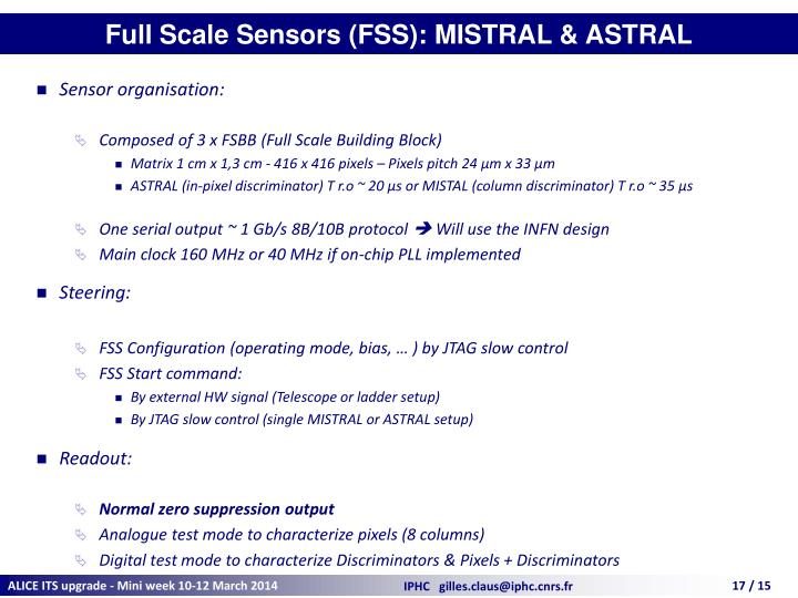 Full Scale Sensors (FSS): MISTRAL & ASTRAL