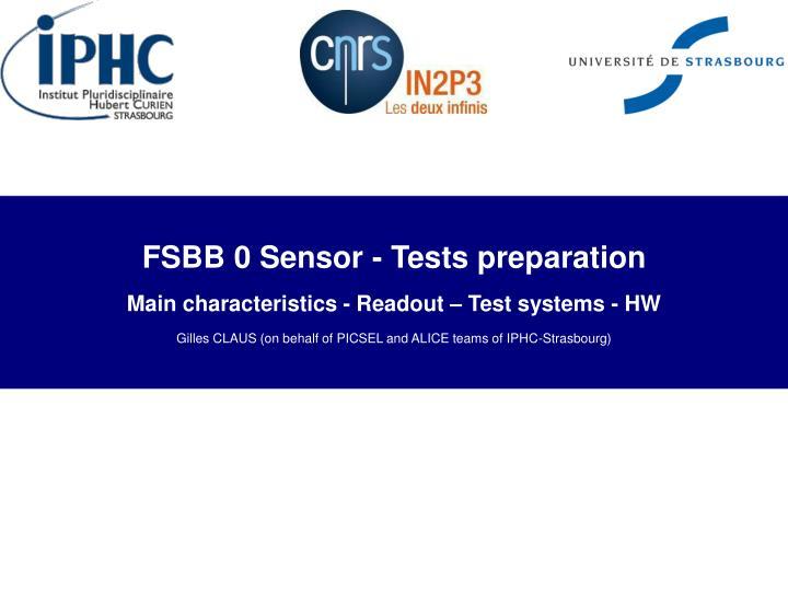 FSBB 0 Sensor - Tests preparation