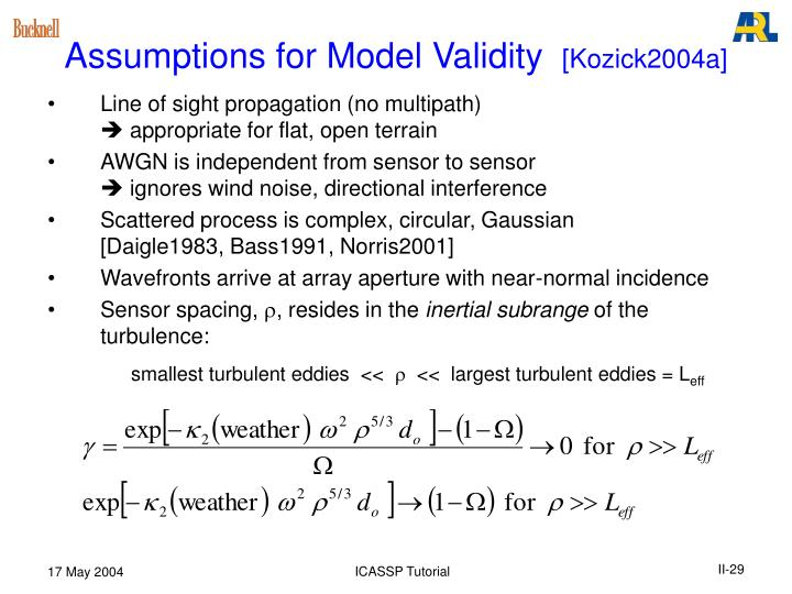 Assumptions for Model Validity