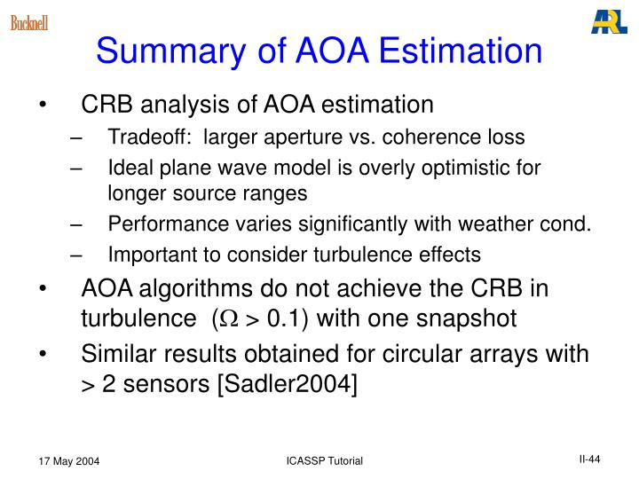 Summary of AOA Estimation