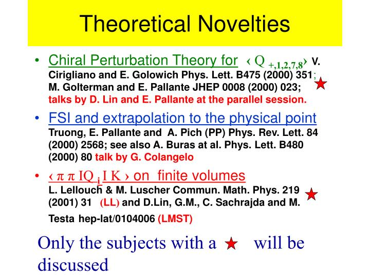 Theoretical Novelties
