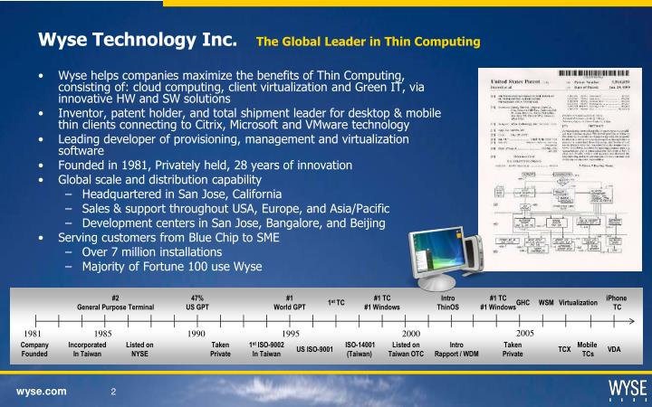 Wyse technology inc the global leader in thin computing