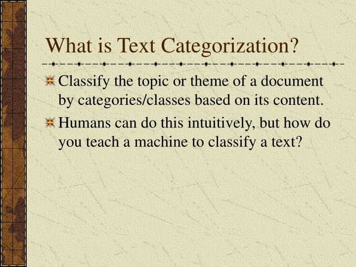 What is Text Categorization?