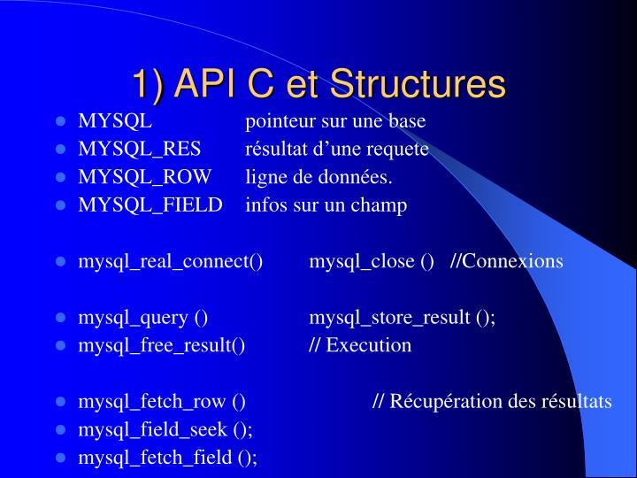 1) API C et Structures