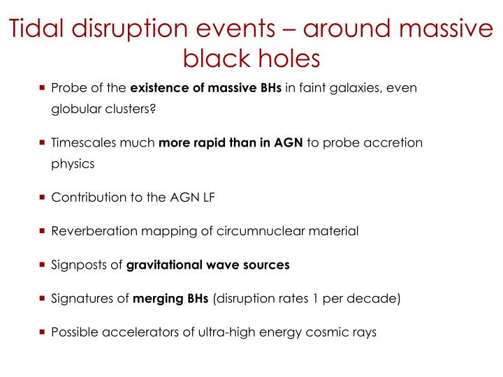 Tidal disruption events – around massive black holes