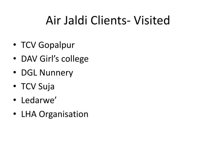 Air jaldi clients visited