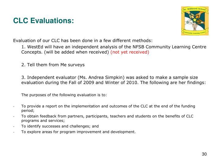 CLC Evaluations: