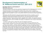 development implementation of st willibrord school and clc 2007 20105