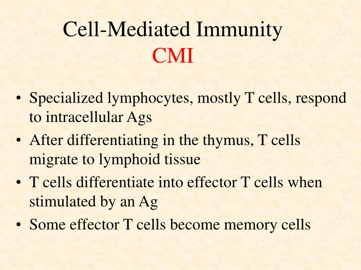 Cell mediated immunity cmi